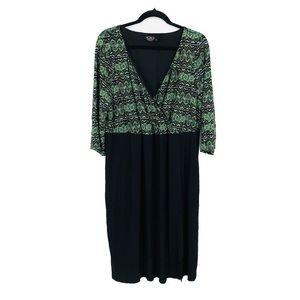 IGIGI 3/4 Sleeve Faux Wrap Dress Size 18/20
